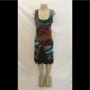 São Paulo Sz 6 Sleeveless Multicolor Sheath Dress